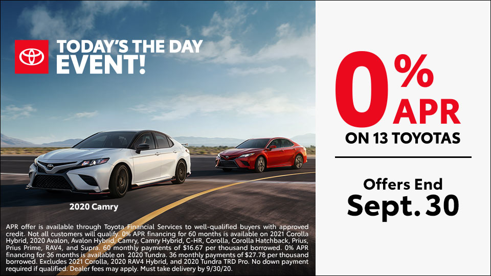 0% APR on 13 Toyotas
